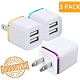 USB Charger, Certified Tricon 3-Pack Wall Charger Power Adapter Plug, 2-Port 2.4Amp Dual Port Charging Cube for iPhone X 8/7/6 Plus SE/5S/4, iPad, iPod, Samsung, LG, HTC, Huawei, Moto, Tablets & More