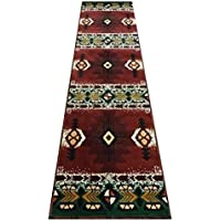 Champion Rugs Burgundy with Green Woven Southwestern Native American Area Rug (2 Feet X 7 Feet Runner)