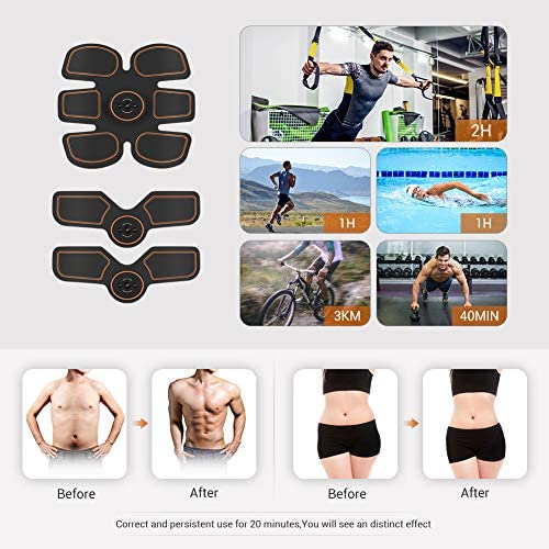 Abs Stimulator Muscle Toner, Muscle Trainer, Abdominal Toning Belt Ultimate Abs Stimulator for Men Women, Rechargeable Stimulator Abdominal Muscle Toner with 6 Modes & 9 Levels Operation 2