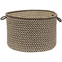 Colonial Mills Natural Wool Houndstooth Utility Basket, 18 by 12-Inch, Espresso