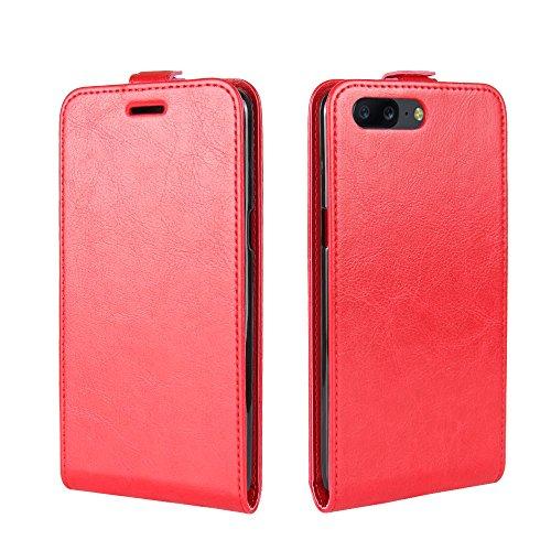 OFU® Para Oneplus 5 Funda,PU Hybrid Card Carry Pocket Wallet Slot,Cartera Cuero Funda de Piel Wallet Case para Oneplus 5 Carcasa Flip Case Cover(negro) rojo