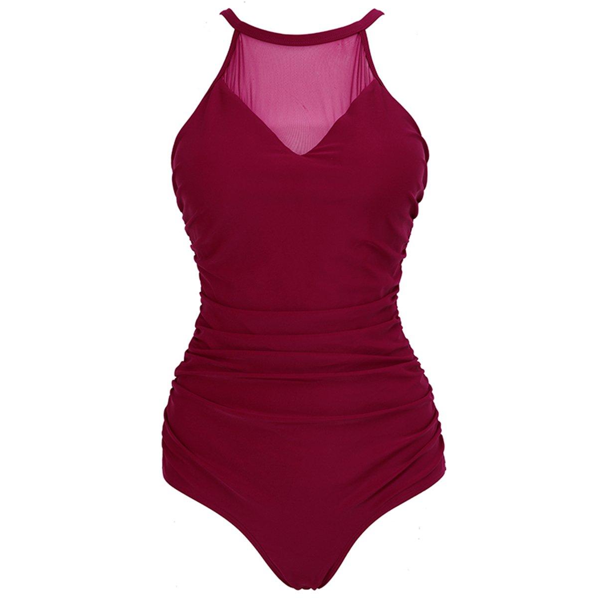 6635664cb4 LAPAYA Women s Vintage Ruched One Piece Swimsuit Mesh V Neck Plus Size  Swimwear at Amazon Women s Clothing store