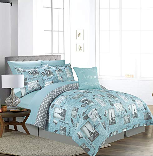 Sweet Home Collection Comforter 9 Piece Printed Fashion Soft and Luxurious Bedding with Sheet Set, Shams, and Decorative Embroidered Pillows Queen Lamour Mineral