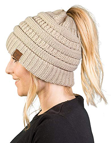 - BT-6020a-60 Messy Bun Womens Winter Knit Hat Beanie Tail - Beige