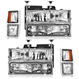 96 chevy 1500 headlight bulbs - Partsam Headlight Assembly for 1994-1998 Chevy C/k Series 1500 2500 3500 Tahoe Suburban Silverado Pickup Driver and Passenger Side Pair Headlamps Headlamps Replacement Chrome Housing Amber Reflector