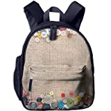 Children's School Bag Buttons Frame On Fabric Texture Background Shoulder Bag Navy