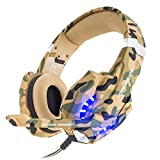 BENGOO Gaming Headset for PS4 Professional 3.5mm PC LED Light Game Bass Headphones Stereo Noise Isolation Over-ear Headset with Mic Microphone for PS4 Laptop Computer and Smart Phone-Camouflage
