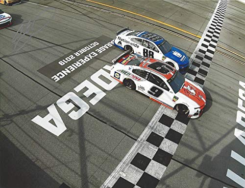 (AUTOGRAPHED 2019 Chase Elliott #9 Little Caesars Racing TALLADEGA GEICO 500 RACE WIN (Finish Line Victory) Signed Collectible Picture 9X11 Inch NASCAR Glossy Photo with COA)