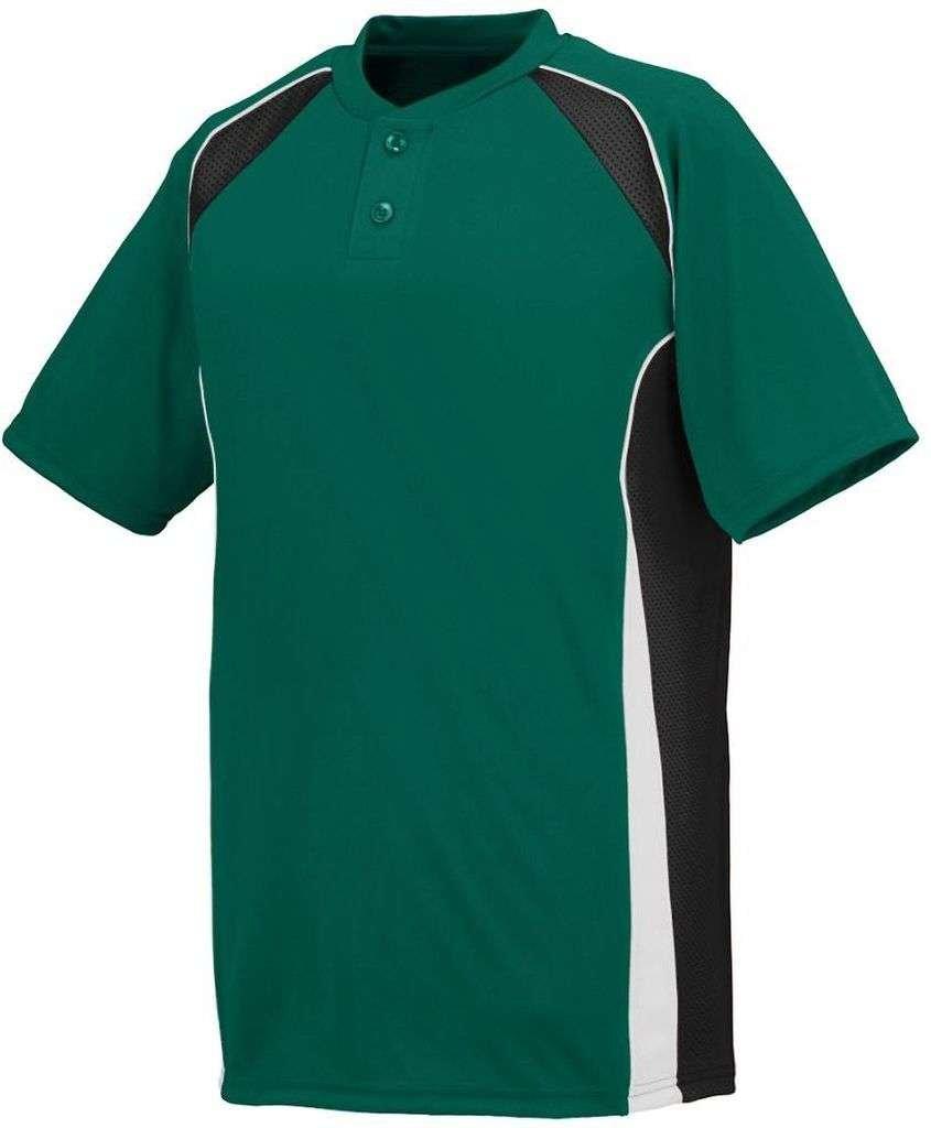 Augusta Sportswear Boys 'ベースHit Baseball Jersey B00IUKT3NM Medium|ダークグリーン/ブラック/ホワイト ダークグリーン/ブラック/ホワイト Medium