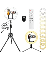 """$26 » 12"""" Ring Light with 63"""" Extendable Tripod Stand & 2 Phone Holders, 10 Color Temperature 10 Brightness Remote & Touchpad Control Selfie Ring Light for Live Stream/Makeup/YouTube Video/TikTok"""