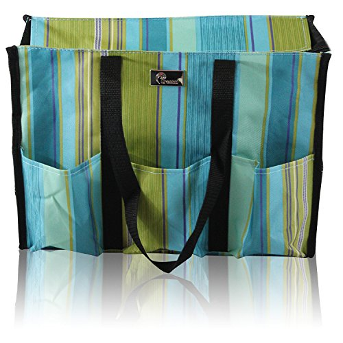 Pursetti Zip-Top Organizing Utility Tote Bag with Multiple Pockets for Working Women, Nurses, Teachers and Soccer Moms (Teal Stripes)