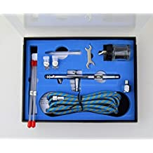 Weberdisplays Pro Siphon Feed Double Action Air Brush Set with 22 cc Jar and Three Nozzles 0.3 mm, 0.5 mm and 0.8 mm and Hose in a Case For Art Tattoo Nail Dual Action Airbrush