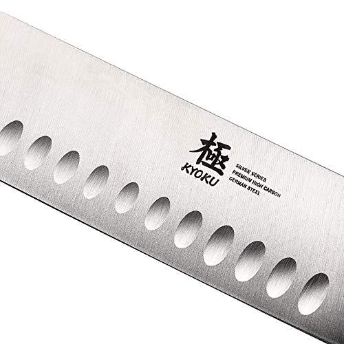 KYOKU Samurai Series - Nakiri Japanese Vegetable Knife 7'' with Sheath & Case - Full Tang - Japanese High Carbon Steel - Pakkawood Handle with Mosaic Pin by KYOKU (Image #7)
