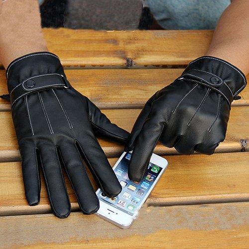 Everyday moda invernale da uomo in finta pelle moto completa finger touch screen guanti caldi