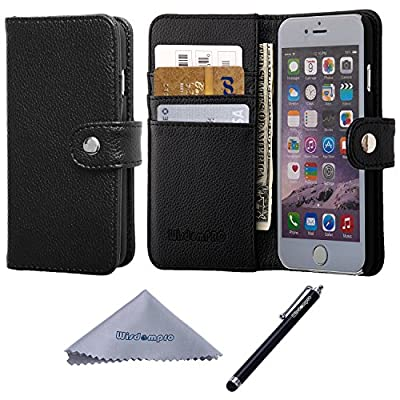 iPhone 6 Case, Wisdompro Premium PU Leather 2-in-1 Protective Flip Wallet Case with Credit Card Holder/Slots and Wrist Lanyard for Apple 4.7-inch iPhone 6 by Wisdompro