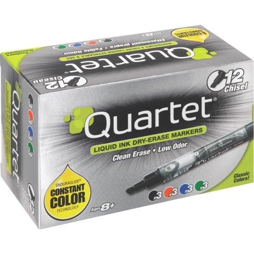 Quartet EnduraGlide Dry Erase Markers, Chisel Tip, Assorted Colors, 12/Set - Chisel Marker Point Style - Assorted Ink - 12 / Set Enduraglide Dry Erase Marker Chisel