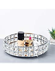 Feyarl Anti-Scratch Glass Mirror Surface Crystal Vanity Makeup Tray Ornate Jewelry Trinket Tray Organizer Sparkly Bling Cosmetic Perfume Bottle Tray Decorative Home Decor Dresser Skin Care Storage