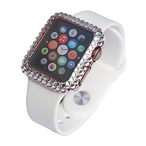 FLYFOX Compatible fashion full 3d bling diamond rhinestone girly Super Thin bumper case cover skin replacement for APPLE watch series 1 38mm,(rose gold,38mm)