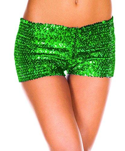 Bigood Court Pour Sexy Femme Short Vogue Polyester Paillette Pantalon Vert rZwqgr6