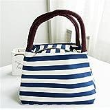 Goodscene Small Lunch Bag Waterproof Fabric Striped Bag Handbag Lady Bag(Blue)