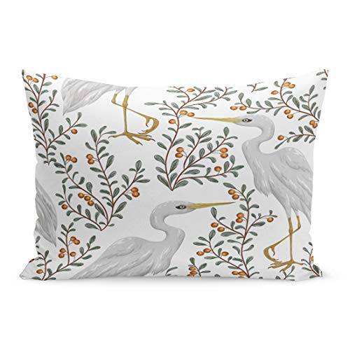 Semtomn Throw Pillow Covers Colorful Crane Heron Bird and Cranberry Plant Rustic Botanical Vintage in Watercolor Pattern Pillow Case Cushion Cover Lumbar Pillowcase for Couch Sofa 20 x 30 inchs
