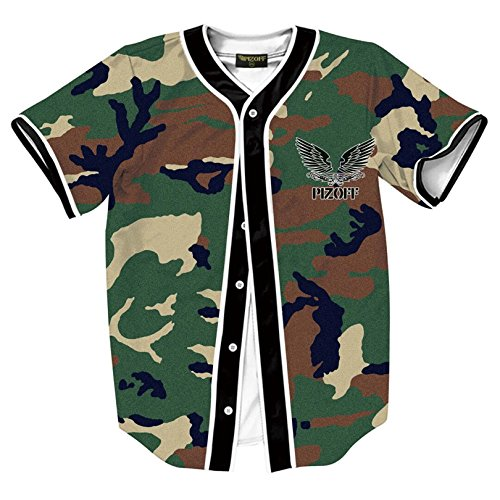 Beseball Team Jersey V-Neck Button Down Camouflage Dab Print T Shirts Y1724-74-L (Camouflage Camo New T-shirt)