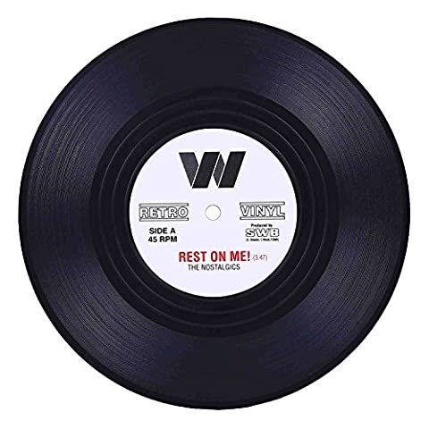 Coasters for Drinks with Gift Box – Set of 6 Colorful Retro Vinyl Record Disk Coasters with Funny Labels-Prevent…