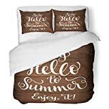 SanChic Duvet Cover Set Calligraphic Inscription Ornamental on Wood Say Hello Decorative Bedding Set with Pillow Sham Twin Size