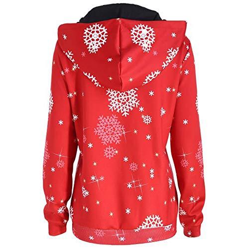 Toimothcn Womens Casual Santa Claus Print Hoodie Pullover Christmas Long Sleeve Hooded Sweatshirt Blouse Tops(Reda,L) ()
