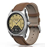 Hybrid Smart Watch --- InClock Stainless Steel with Leather Strap, (OLED Auto Calibration, Heart Rate, Pedometer, Sleep and Blood Pressure Monitor, Fitness Tracker) Bluetooth Smartwatch (Brown)