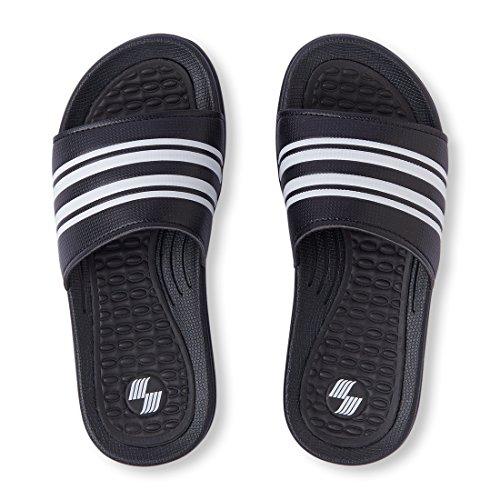 The Children's Place Boys' BB Slide Flat Sandal, Black, Youth 2-3 Medium US Infant