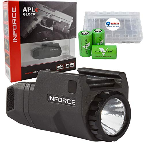 InForce APLc Glock WML Tactical Mounted Light 200 Lumens for Glock, Black Bundle with 3 CR2 Viridian Batteries and a Lightjunction Battery Box