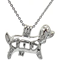 wassana K583 Silver 35mm Cute Lucky Dog Puppy Beads Cage Necklace 18 - Kids Party Day