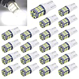Aucan Super Bright 194 921 168 2825 W5W T10 Wedge 30-SMD 3014 Chipsets LED Replacement Bulbs for 12V Car Interior Dome Map Door Courtesy Trunk License Plate Lights Xenon White (pack of 20)