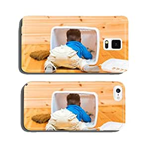 Little active boy helps to clean the house getting inside bin cell phone cover case iPhone6