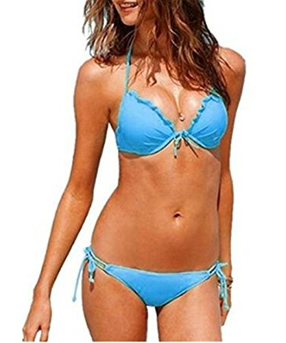 Aidonger Mujer atractivo del vendaje del bikini Conjuntos de baño Bikini Azul