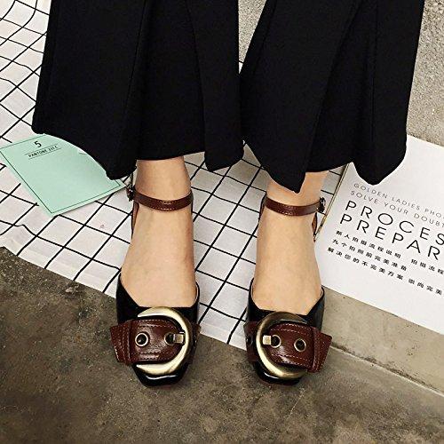 GLTER Femmes Pommeau de cheville Pommes Mules Chaussures à talons hauts Chaussures Sandales Ceinture de tête carrée Couleur de sorts Chaussures décontractées Abricot noir , black , 38