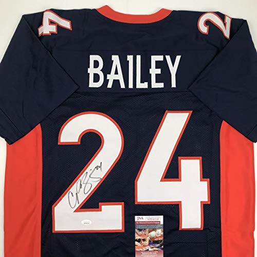 Autographed/Signed Champ Bailey Denver Blue Football Jersey JSA COA