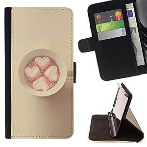 - marshmallow minimalist yellow pink - - Prima caja de la PU billetera de cuero con ranuras para tarjetas, efectivo desmontable correa para l Funny HouseFOR Sony Xperia Z1 L39