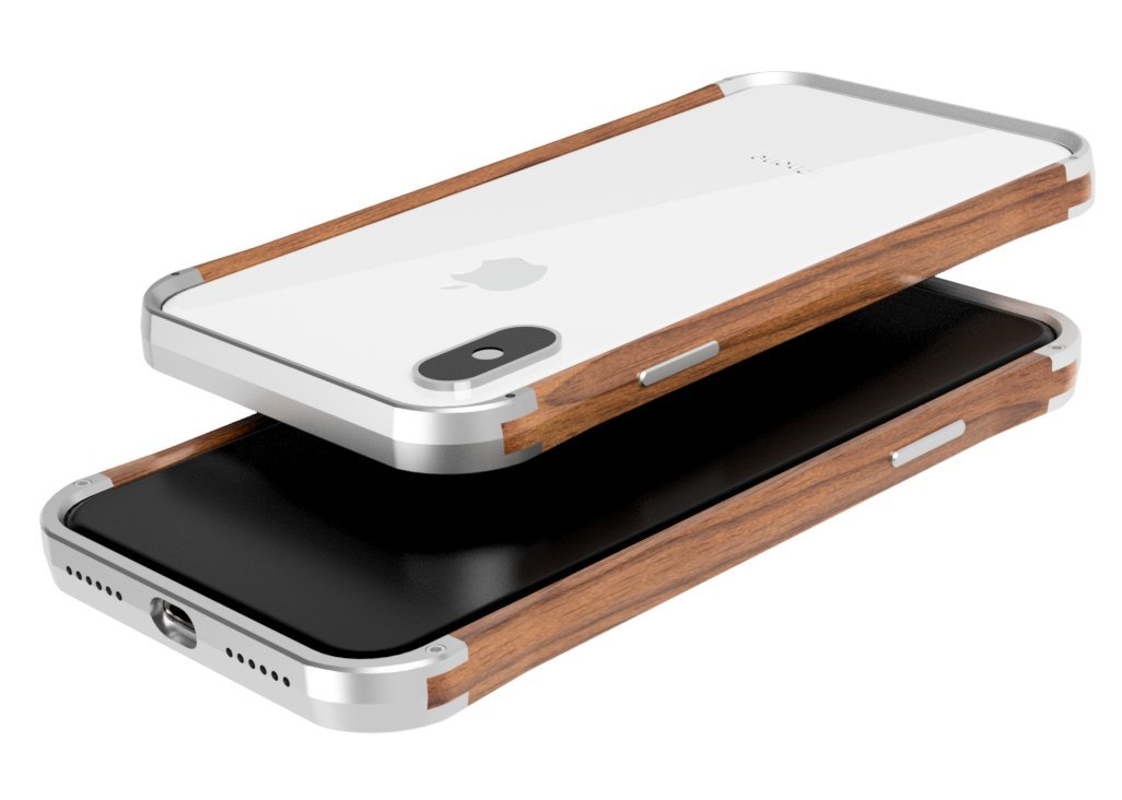 VESEL Cell Phone Case for iPhone Xs Max - Frozen Silver & Walnut Wood