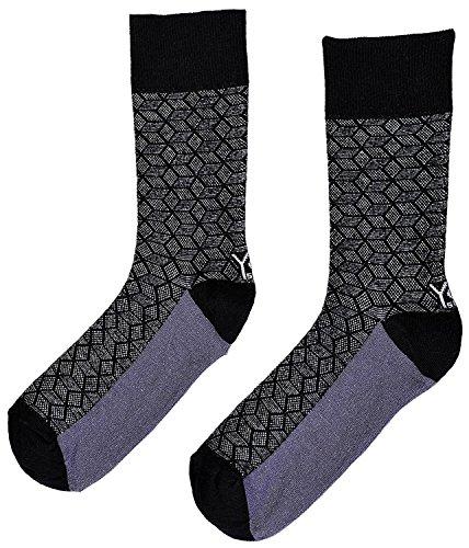 Sox Carpet (Yo-Sox Mens Black Carpet Crew sock with a Sock Ring)