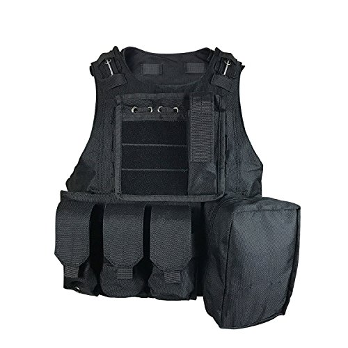 SMARTSTANDARD Tactical Vest Law Enforcement Molle Airsoft Modular CS field Army Fans Outdoor Supplies Combat Training Vest Black