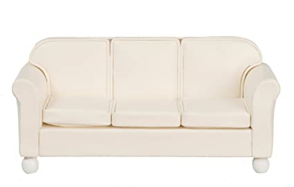 Aztec Imports, Inc. Dollhouse Miniature Off-White Leather Look Sofa