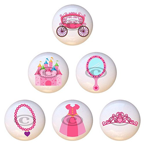 SET OF 6 KNOBS - Princess by PP - DECORATIVE Glossy CERAMIC Cupboard Cabinet PULLS Dresser Drawer -