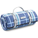VonShef Large Picnic Blanket Mat, Large Soft Fleece Blanket with Faux Leather Carrier Handle and Waterproof Lining, for Outdoor Picnics, Beach, Camping – Navy Tartan