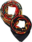 2 Pcs 35 Inches Silk Feeling Red Paisley and Black Red Chains Belts Design Square Scarf Hair Scarves