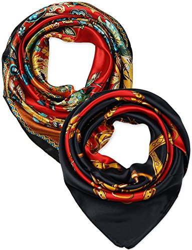 2 Pcs 35 Inches Silk Feeling Red Paisley and Black Red Chains Belts Design Square Scarf Hair (Paisley Silk Belt)