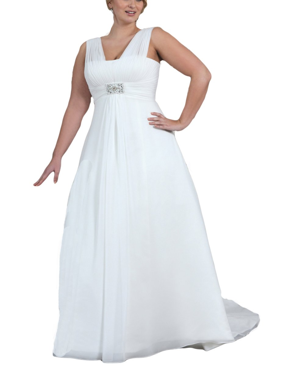 DreHouse Women\'s Empire Chiffon Beach Wedding Dress Bridal Gowns Plus Size