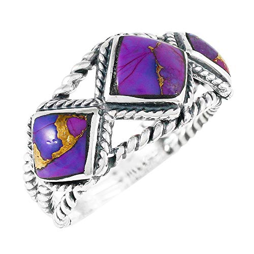 Turquoise Ring Sterling Silver 925 Genuine Gemstones Size 6 to 11 (Purple Turquoise) (10)