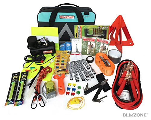 Blikzone Premium Auto Roadside Assistance Emergency Car Kit with 81 Essentials Pc: Portable Air Compressor, Jumper Cables, Tire Repair Kit, Tow Strap, LED Flash Light, Safety Vest & More (Aqua ()
